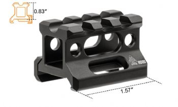 "Leapers UTG Slim Picatinny/weaver Riser Mount, 0.83"" Height, 3 Slot MT-RSX8S"